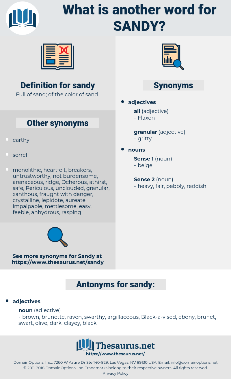 sandy, synonym sandy, another word for sandy, words like sandy, thesaurus sandy
