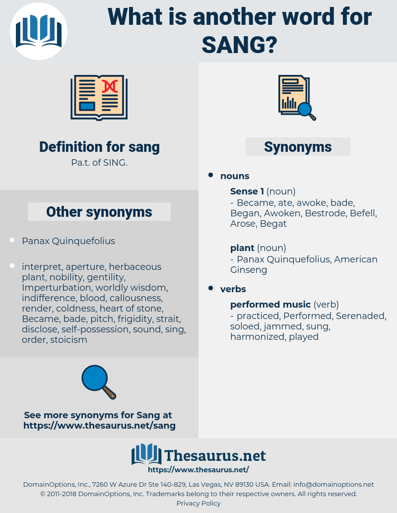 sang, synonym sang, another word for sang, words like sang, thesaurus sang