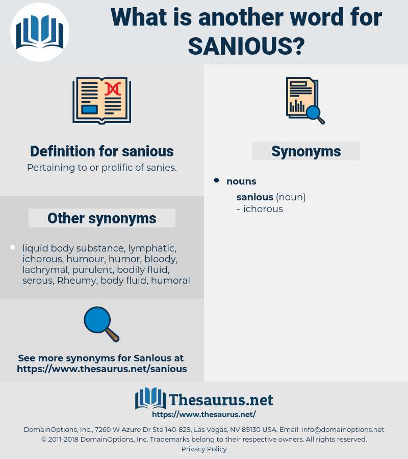 sanious, synonym sanious, another word for sanious, words like sanious, thesaurus sanious