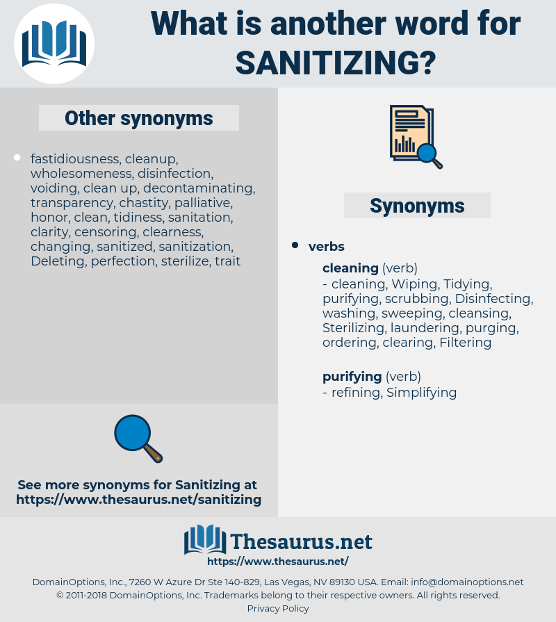 sanitizing, synonym sanitizing, another word for sanitizing, words like sanitizing, thesaurus sanitizing