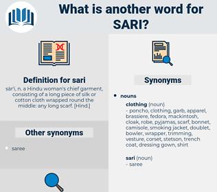 sari, synonym sari, another word for sari, words like sari, thesaurus sari
