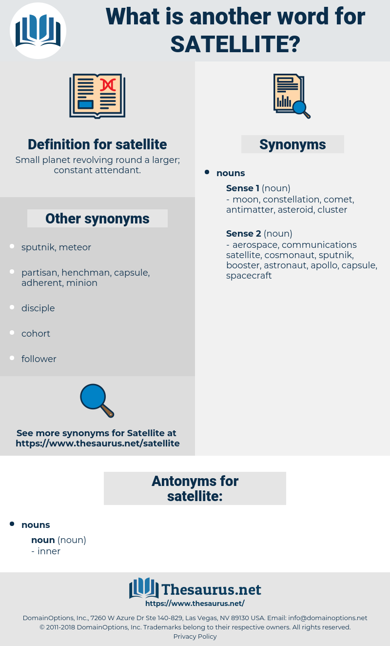 satellite, synonym satellite, another word for satellite, words like satellite, thesaurus satellite