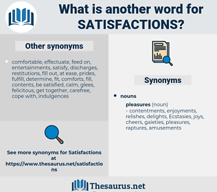 satisfactions, synonym satisfactions, another word for satisfactions, words like satisfactions, thesaurus satisfactions