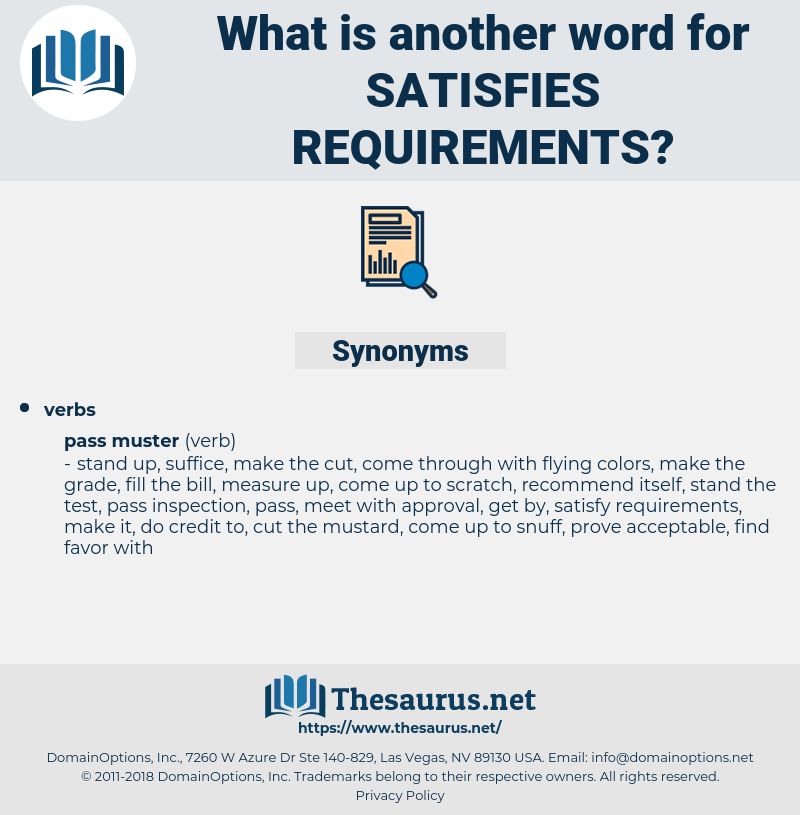 satisfies requirements, synonym satisfies requirements, another word for satisfies requirements, words like satisfies requirements, thesaurus satisfies requirements