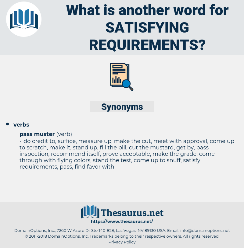 satisfying requirements, synonym satisfying requirements, another word for satisfying requirements, words like satisfying requirements, thesaurus satisfying requirements