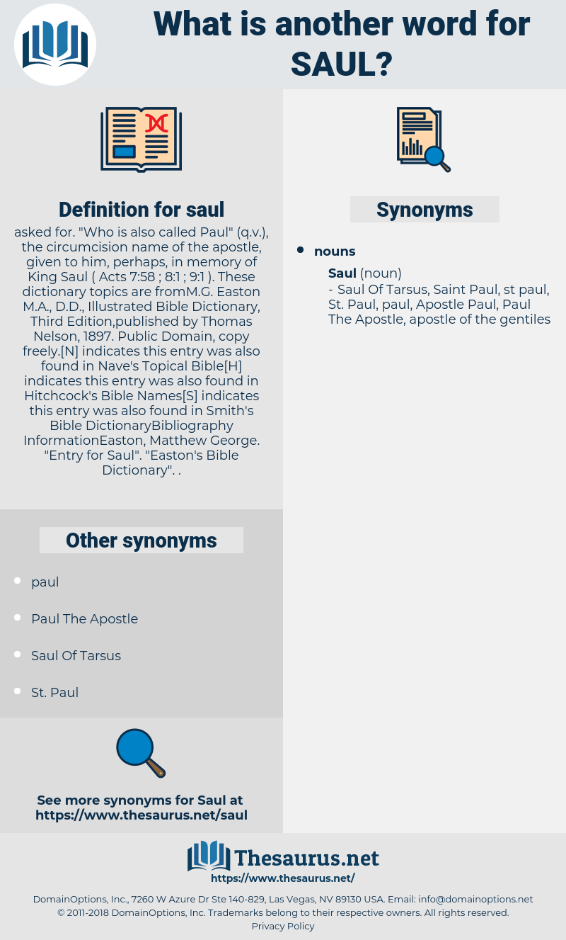 saul, synonym saul, another word for saul, words like saul, thesaurus saul