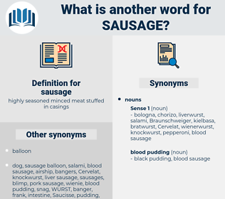 sausage, synonym sausage, another word for sausage, words like sausage, thesaurus sausage