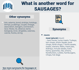 sausages, synonym sausages, another word for sausages, words like sausages, thesaurus sausages