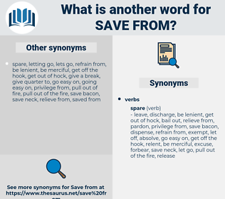save from, synonym save from, another word for save from, words like save from, thesaurus save from