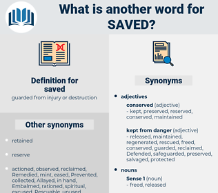 saved, synonym saved, another word for saved, words like saved, thesaurus saved