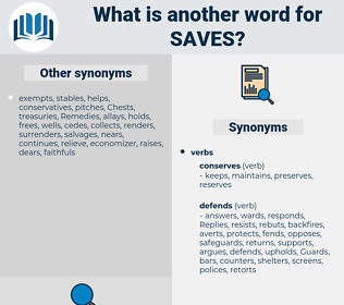 saves, synonym saves, another word for saves, words like saves, thesaurus saves