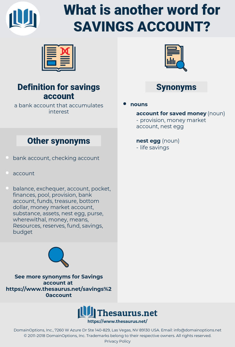 savings account, synonym savings account, another word for savings account, words like savings account, thesaurus savings account