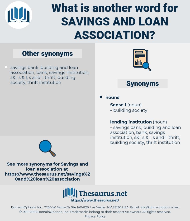 savings and loan association, synonym savings and loan association, another word for savings and loan association, words like savings and loan association, thesaurus savings and loan association