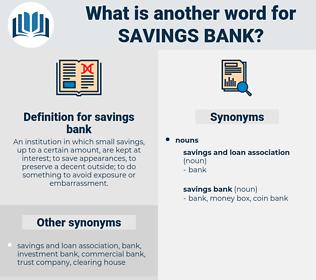 savings bank, synonym savings bank, another word for savings bank, words like savings bank, thesaurus savings bank