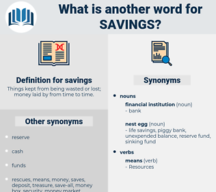 savings, synonym savings, another word for savings, words like savings, thesaurus savings