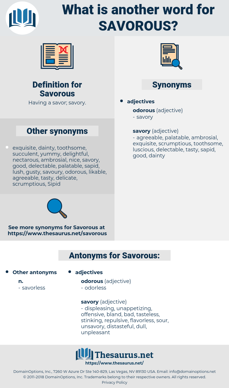 Savorous, synonym Savorous, another word for Savorous, words like Savorous, thesaurus Savorous