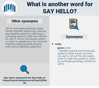 say hello, synonym say hello, another word for say hello, words like say hello, thesaurus say hello