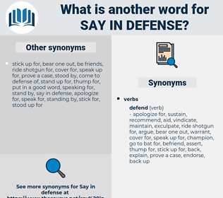 say in defense, synonym say in defense, another word for say in defense, words like say in defense, thesaurus say in defense
