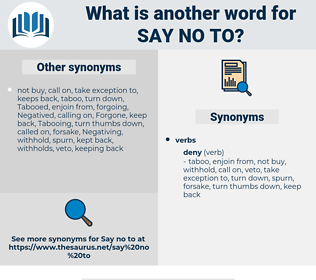 say no to, synonym say no to, another word for say no to, words like say no to, thesaurus say no to