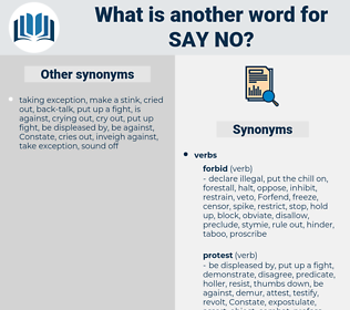 say no, synonym say no, another word for say no, words like say no, thesaurus say no