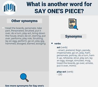 say one's piece, synonym say one's piece, another word for say one's piece, words like say one's piece, thesaurus say one's piece