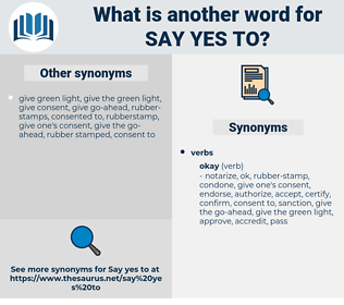 say yes to, synonym say yes to, another word for say yes to, words like say yes to, thesaurus say yes to