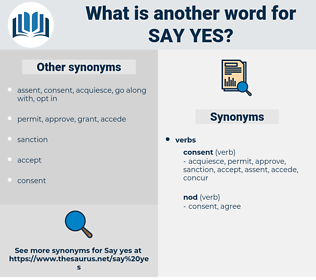 say yes, synonym say yes, another word for say yes, words like say yes, thesaurus say yes