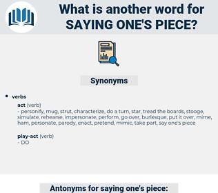 saying one's piece, synonym saying one's piece, another word for saying one's piece, words like saying one's piece, thesaurus saying one's piece