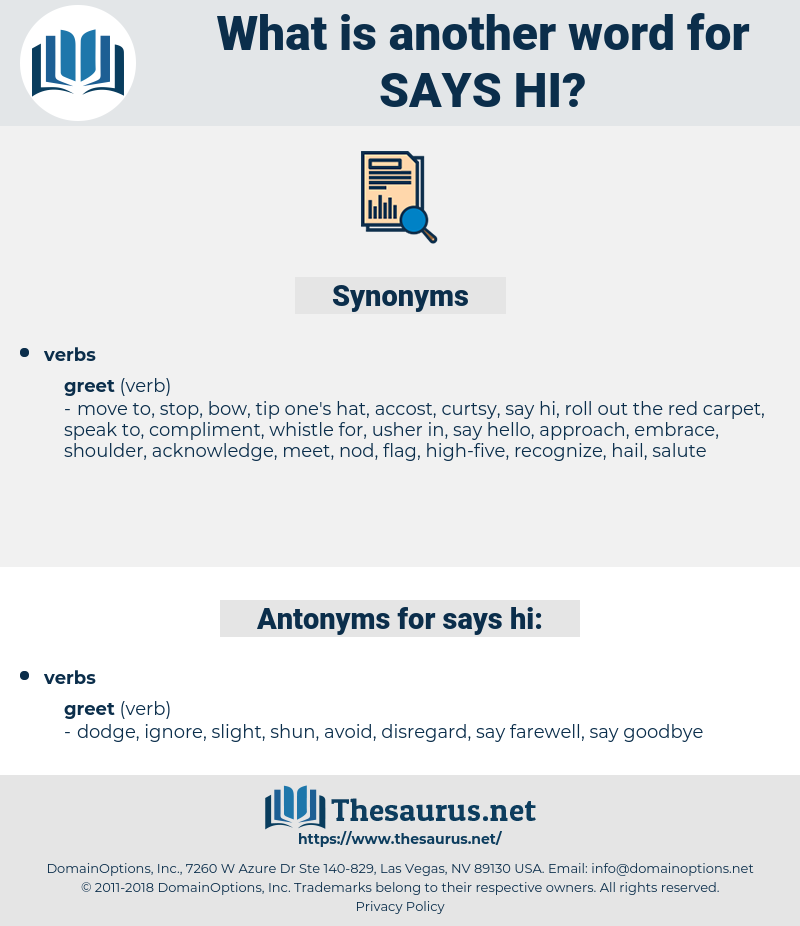 says hi, synonym says hi, another word for says hi, words like says hi, thesaurus says hi
