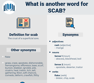 scab, synonym scab, another word for scab, words like scab, thesaurus scab