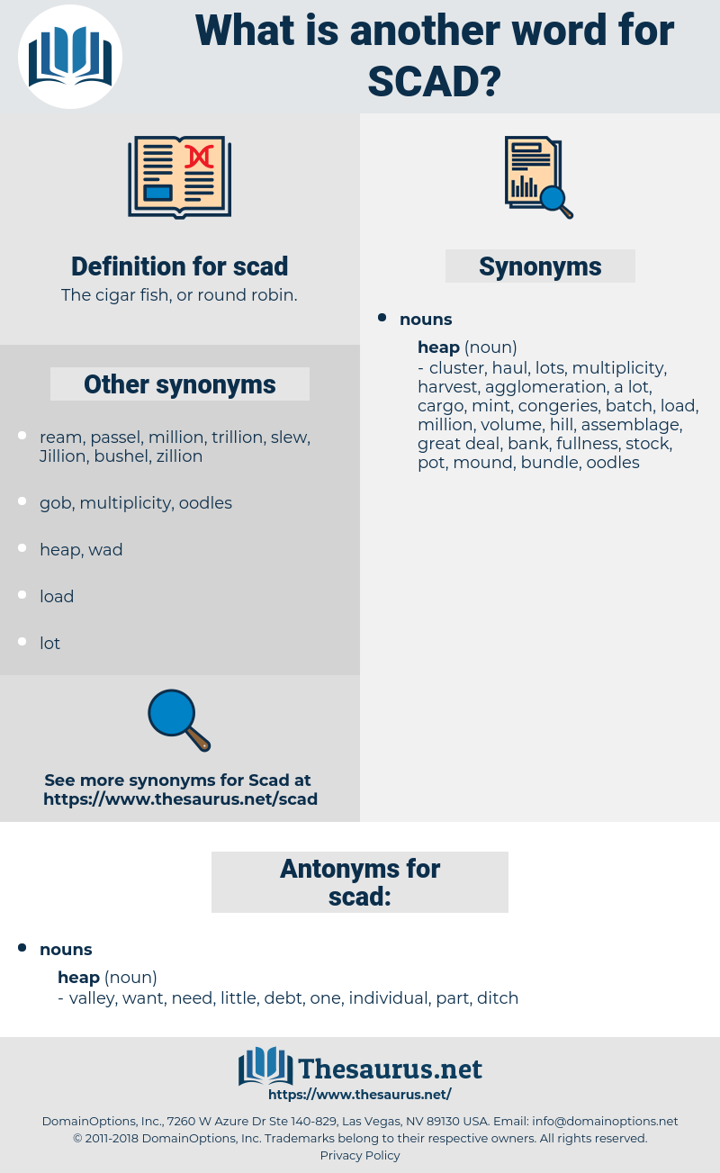 scad, synonym scad, another word for scad, words like scad, thesaurus scad