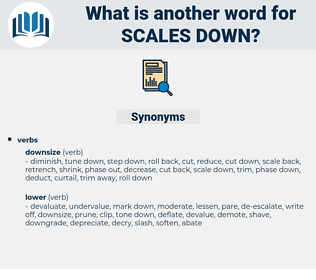 scales down, synonym scales down, another word for scales down, words like scales down, thesaurus scales down