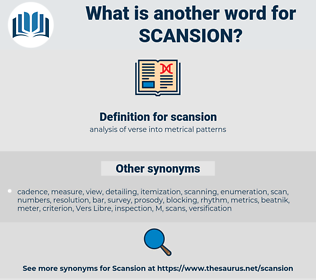 scansion, synonym scansion, another word for scansion, words like scansion, thesaurus scansion