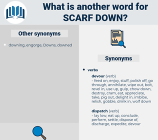 scarf down, synonym scarf down, another word for scarf down, words like scarf down, thesaurus scarf down