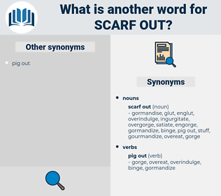 scarf out, synonym scarf out, another word for scarf out, words like scarf out, thesaurus scarf out