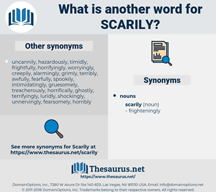 scarily, synonym scarily, another word for scarily, words like scarily, thesaurus scarily