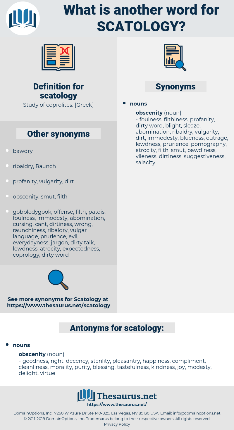 scatology, synonym scatology, another word for scatology, words like scatology, thesaurus scatology