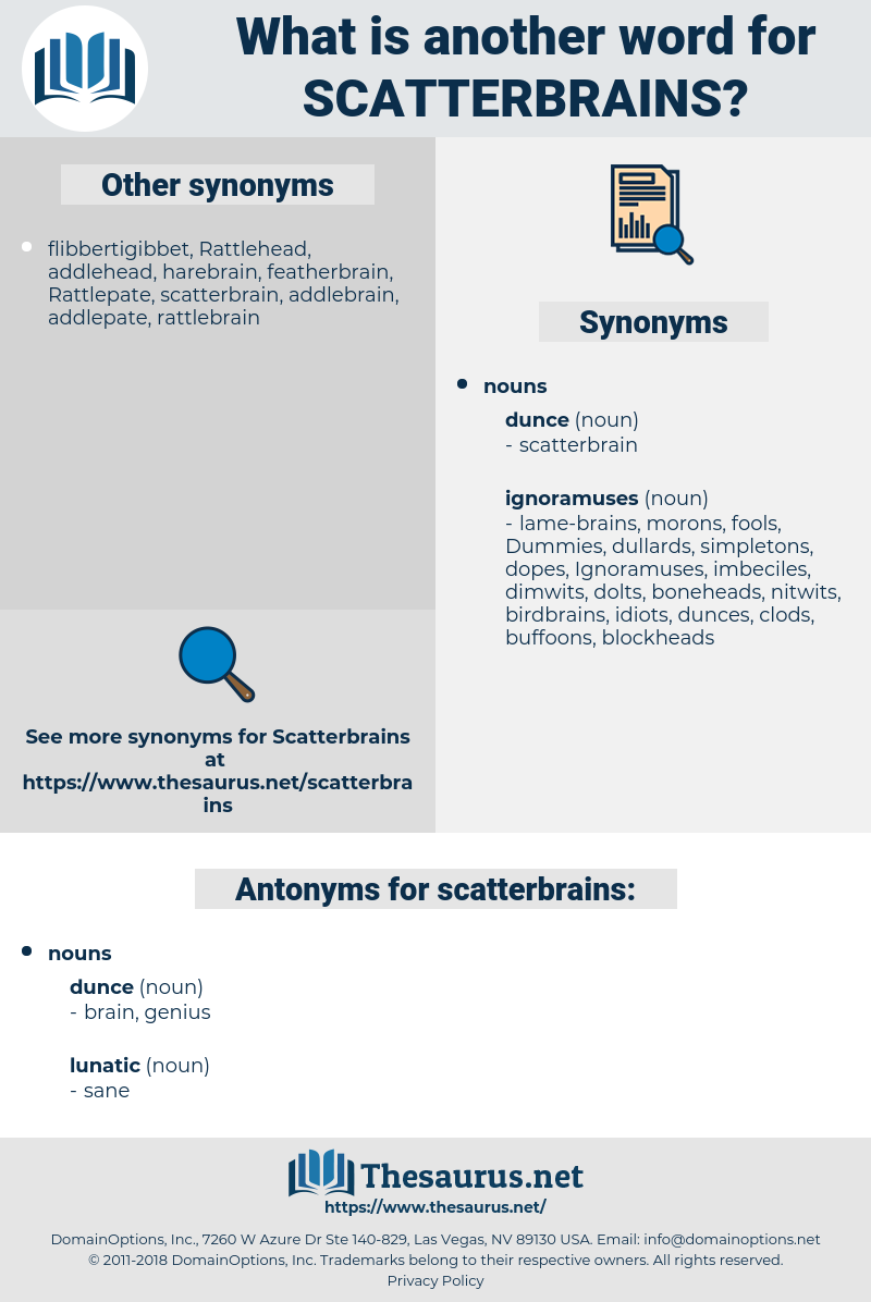 scatterbrains, synonym scatterbrains, another word for scatterbrains, words like scatterbrains, thesaurus scatterbrains