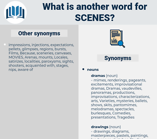 scenes, synonym scenes, another word for scenes, words like scenes, thesaurus scenes