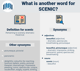 scenic, synonym scenic, another word for scenic, words like scenic, thesaurus scenic