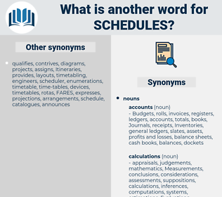 Schedules, synonym Schedules, another word for Schedules, words like Schedules, thesaurus Schedules