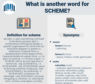 scheme, synonym scheme, another word for scheme, words like scheme, thesaurus scheme