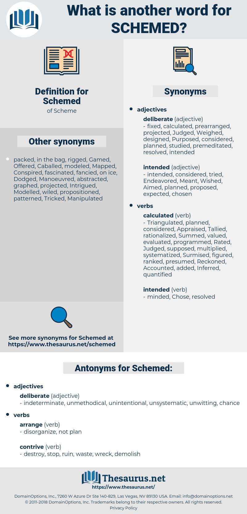 Schemed, synonym Schemed, another word for Schemed, words like Schemed, thesaurus Schemed
