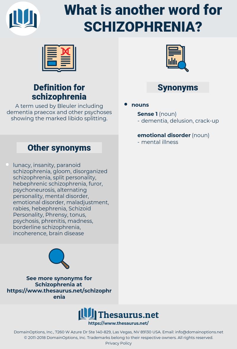 schizophrenia, synonym schizophrenia, another word for schizophrenia, words like schizophrenia, thesaurus schizophrenia