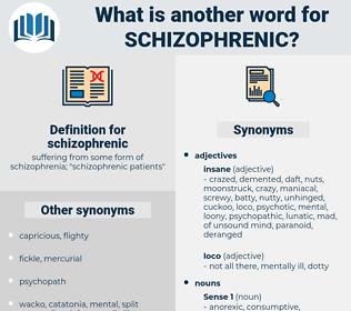 schizophrenic, synonym schizophrenic, another word for schizophrenic, words like schizophrenic, thesaurus schizophrenic