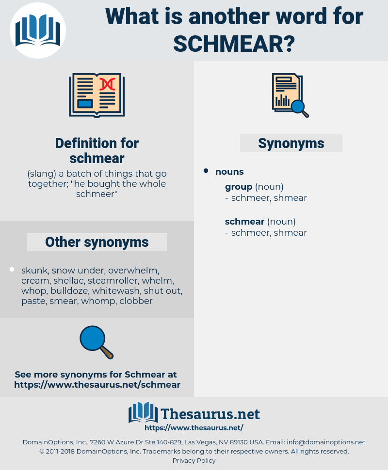 schmear, synonym schmear, another word for schmear, words like schmear, thesaurus schmear