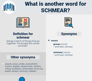 schmear, synonym schmear, another word for schmear, words like schmear, thesaurus schmear