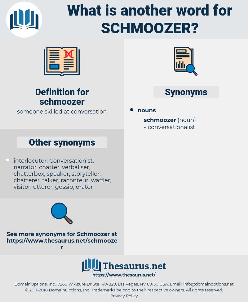 schmoozer, synonym schmoozer, another word for schmoozer, words like schmoozer, thesaurus schmoozer