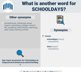 schooldays, synonym schooldays, another word for schooldays, words like schooldays, thesaurus schooldays