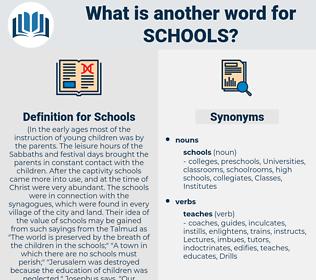 Schools, synonym Schools, another word for Schools, words like Schools, thesaurus Schools